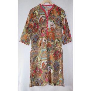 Biba 34 S India Print 3/4 Sleeve Tunic Dress Kurta